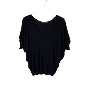 Popular Basics Black Short Sleeve Dolman Top SizeL
